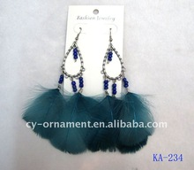 fashion feather earrings with beads