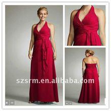 Best Selling! Cheap Plus Size Halter A-line Ankle Long Empire Bridesmaid Dresses 2012