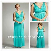 Western Style! V-neck Plus Size Colum Empire Long Bridesmaid Dresses 2012