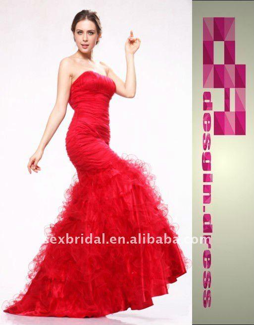 popular de tule sereia gala vermelho vestido de festa