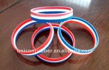 silicone rubber National France stripe flag bracelets