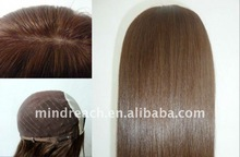 Best quality 18inch color6 silk straight wave 100% Mongolian Hair Kosher Jewish Wig in stock,accept escrow payment