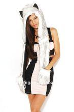 Stylish fur hat animal ears,fur hooded scarf hat