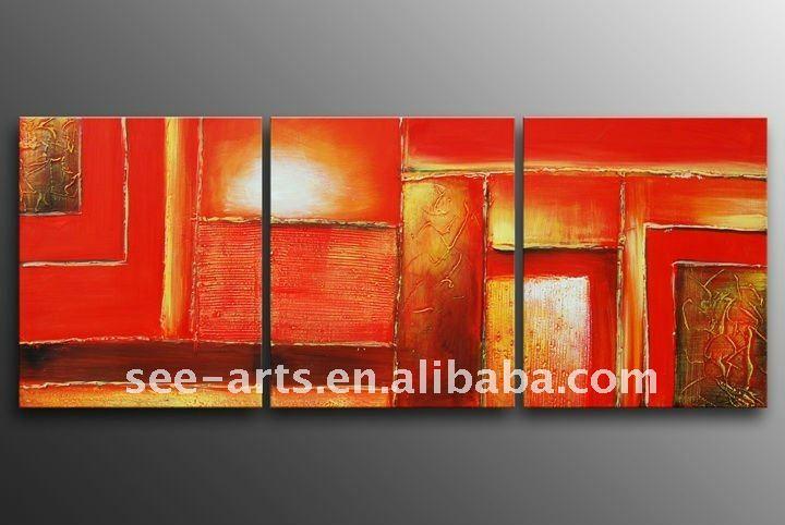 Pintura al leo abstracta moderna sala de estar sjd 095 - Pinturas modernas para sala ...