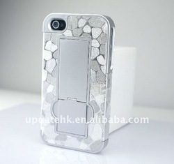 2015 New Products White plastic case with stander for iPhone 4/4S back cove for Iphone 4s back cove for Iphone 4s