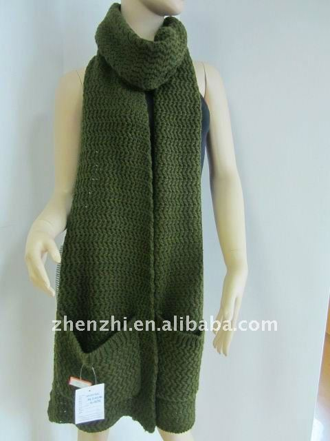 100% Acrylic Knitting Pattern Pocket Scarf - Buy Knitting Pattern Pocket Scar...