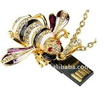 1GB bee shape crystal diamond jewelry usb thumb gifts usb flash drive/pendrive/stick/flash memory