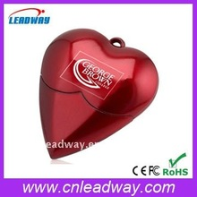 plastic red heart usb flash memory, any logo be imprinted!!!