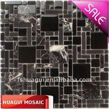 Glass mix polish marble mosaic black tiles HG-Y001