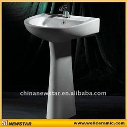 Pedestal laundry sink white color