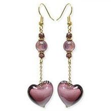 E157 fashion handmade purple heart murano Bead Chain earring