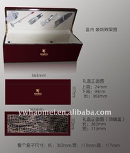 single wood wine box with leather covered top