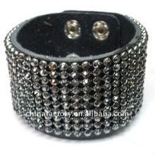 2012 fashion 10lines carbon Crystal Genuine adjustable leather bracelet