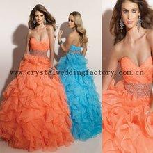2012 sweetheart beaded ruffled organza custom-made christmas formal ball gown CWFab3656