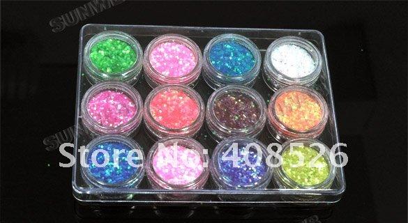 12 Color Glitter Nail Art Powder Dust Tip Decoration Paillette Spangles