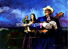Handmade Impressionist people oil painting