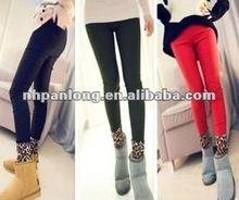 jean look tights ladies new design leggings Leopard printed leggings with trouser legs