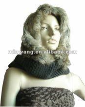 2012 fashion fur hooded scarf hat