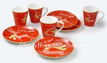 Set of 8pcs plate and mug set with full decal wrapped for 4 person