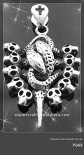 P049 snake and skull heads316L stainless steel pendant