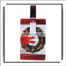 8GB Christmas Wreath Pattern Credit Card Style USB Flash Memory Drive