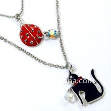 Fashion black cat and red ladybug pendant Necklace(118199-1)