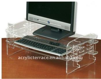 Clear Acrylic Keyboard & Monitor Stand
