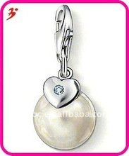 beautiful silver alloy White Pearl and Heart with Diamond charm(H100708)
