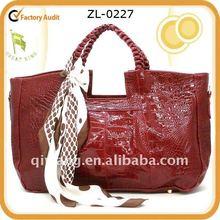 2012 lady PU fashion RED croco print handbag with scarf
