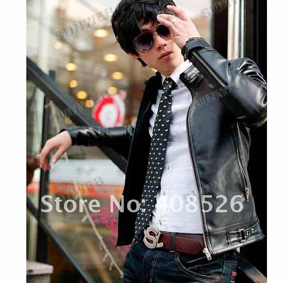 2012 New Men's Sexy Slim Top Designed PU Leather Short Jacket Coat