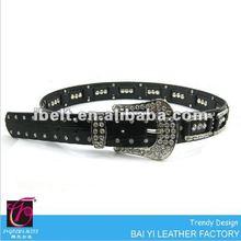 2012 new model crystal buckle black PU belts for ladies