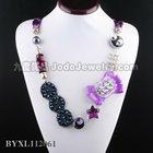 handmade multi beads fashion bib necklace with flower