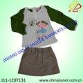 2015 moda inverno conjunto de roupas menina