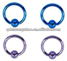 2012 new year new styls on titanium plated captive ring body piercing jewelry