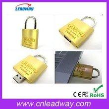 OEM 2g golden lock shaped usb storage disk