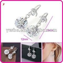 shiny alloy white gold plated zircon ball beads earring (E630083)