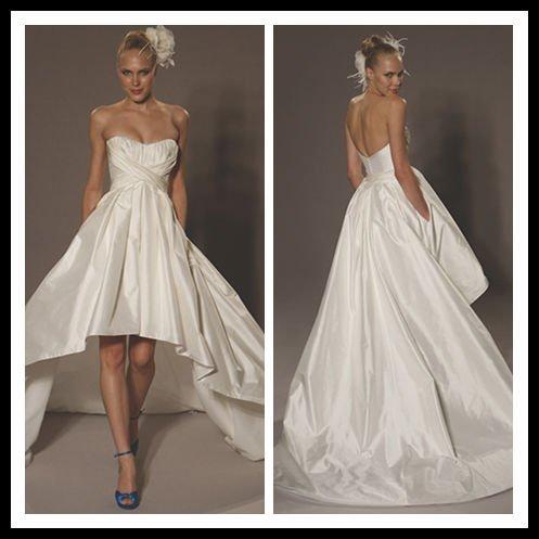 Свадебные Платья Перед Короткий А Сзади Длинный Шлейф