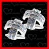 Elegant cross cufflinks for women CZ setting