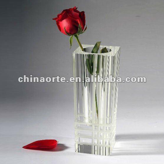 Projeto da forma quadrada de vidro transparente vaso para decoração de casa