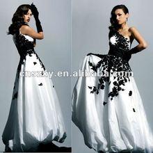 2012 One Shoulder A line Black Lace Embroidery Yaffeya Vintage Wedding Dresses
