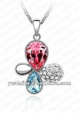 2012 Hot Sale Fashion Elegant Rosy+Lake Blue+White Crystal Butterfly Pendant Necklace