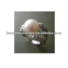 Chinese fresh water pearl silver rings, OEM Welcome!