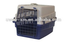 UW-FC-001 Comfortable plastic white&blue ventilative pet flight carrier with single door