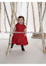 Red taffeta jewel neckline short sleeves rouched skirt with flower accents tea length custom made flower girl dresses CWFaf3916