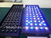 2012 fashional 64x3w acutal power 192watt led coral reef aquarium lights black or sliver shells with intelligent led controller