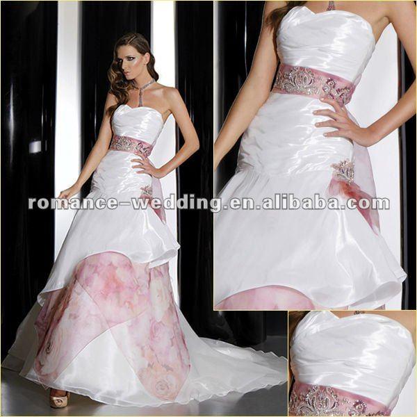 GR0049 Sweetheart Strapless Ribbon Hot Pink Flower Wedding dress