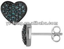Blue Diamond Heart Earrings 1/4 Carat (ctw) in Sterling Silver