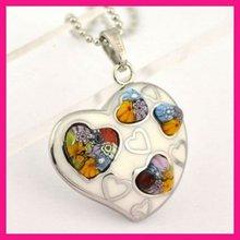 fashion color glass pendant murano glass metal heart shape pendant