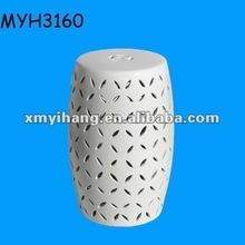 Modern White Lattice Ceramic Garden Stool