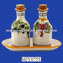 Ceramic Oil & Vinegar Cruet with Tray